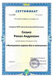 Сертификат СБиС - функционал сервиса Всё о компаниях